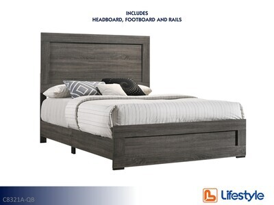 Salt Creek Gray Bed with Headboard Footboard Rails by Lifestyle (Queen)