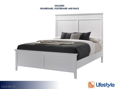 Cottage Bay White Bed with Headboard Footboard Rails by Lifestyle (Full)