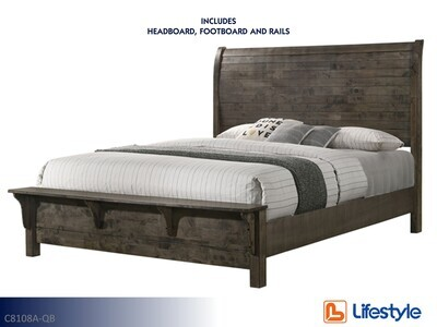 Cassidy Bed with Headboard Footboard Rails by Lifestyle (Queen)