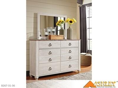Willowton Whitewash Dresser with Mirror by Ashley (2 Piece Set)