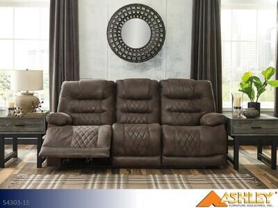 Welsford Walnut Reclining Sofa by Ashley