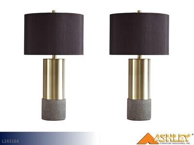 Jacek Gray-Brass Lamps by Ashley (Pair)