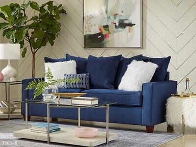 Indigo Blue Stationary Sofa by Washington