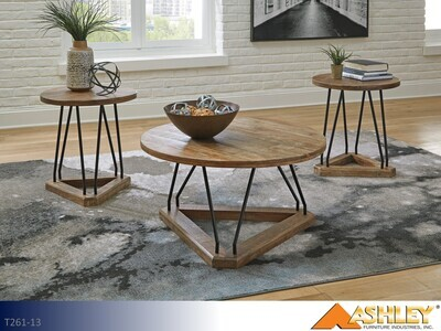 Fielone Brown-Black Occasional Table Set by Ashley (3 Piece Set)