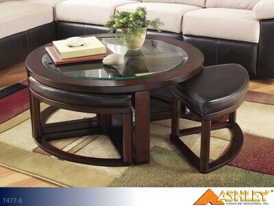 Marion Dark Brown Chairside Table by Ashley (5 Piece Set)