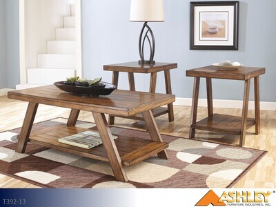 Bradley Burnished Brown Occasional Table Set by Ashley (3 Piece Set)