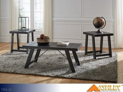 Noorbrook Black-Pewter Occasional Table Set by Ashley (3 Piece Set)