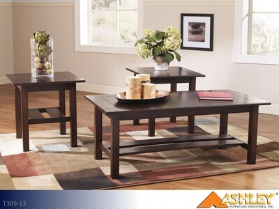 Lewis Medium Brown Occasional Table Set by Ashley (3 Piece Set)