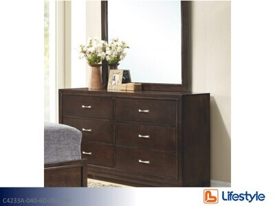 Walnut Dresser with Mirror by Lifestyle (2 Piece Set)