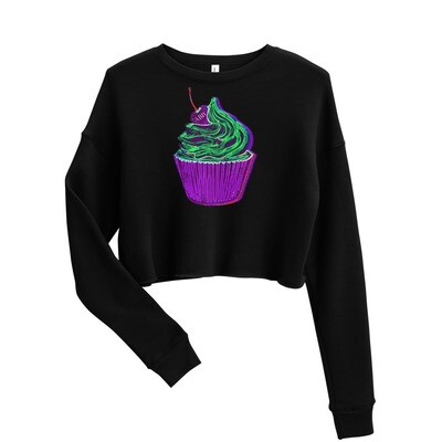 Purple Neon Cupcake Crop Sweatshirt