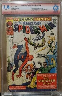 SPIDERMAN ANNUAL #1 1964 CBCS 1.8 STAN LEE SIGNATURE Sinister Six, FF, X-MEN