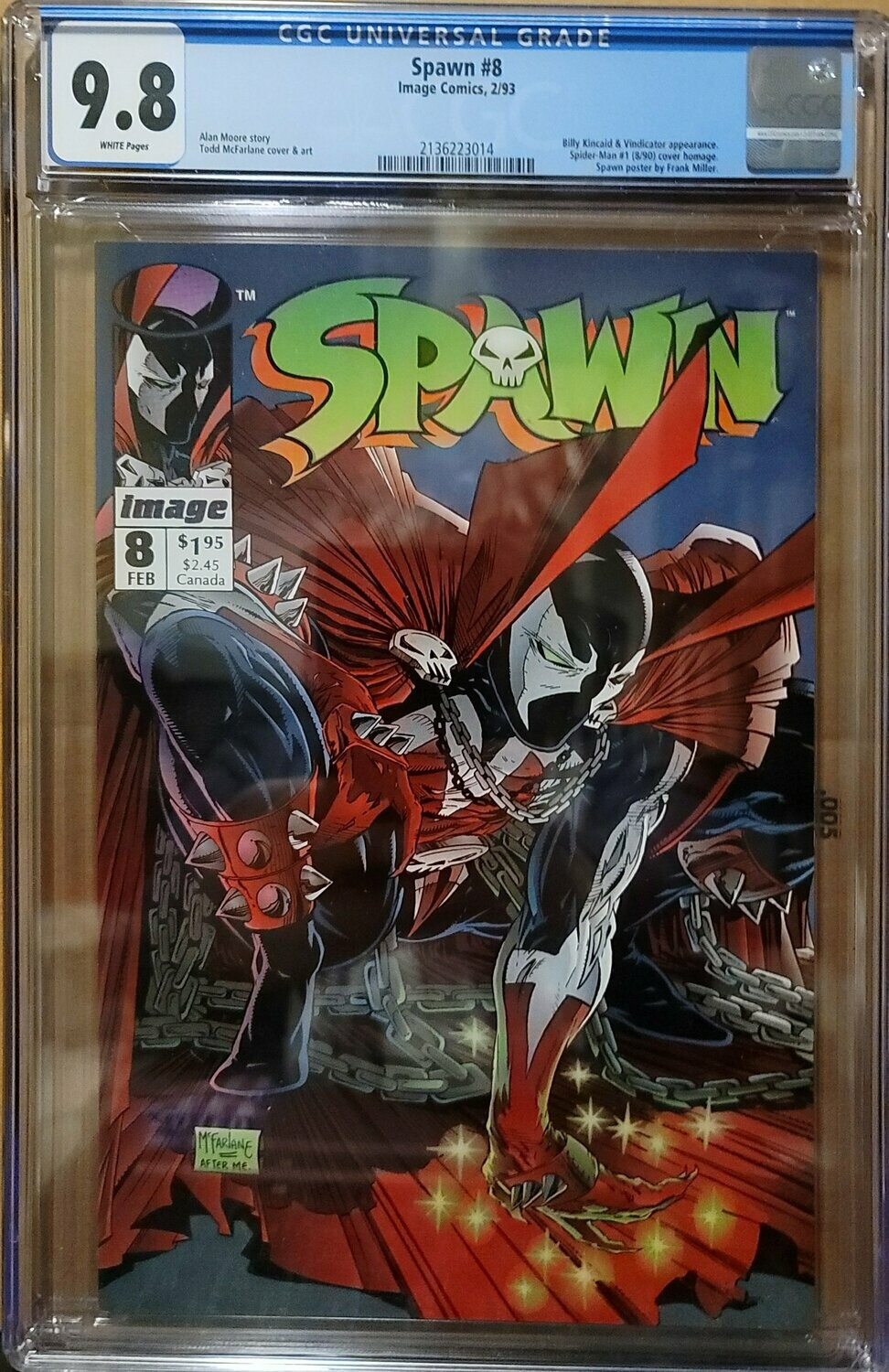 SPAWN #8  CGC 9.8  WHITE PAGES McFARLANE ART SPIDERMAN HOMAGE