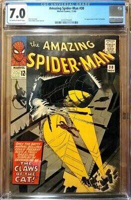 SPIDERMAN #30 1965 CGC 7.0 Off White to White Pages 1st Cat Burglar Marvel