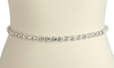 Slender crystal bridal belt