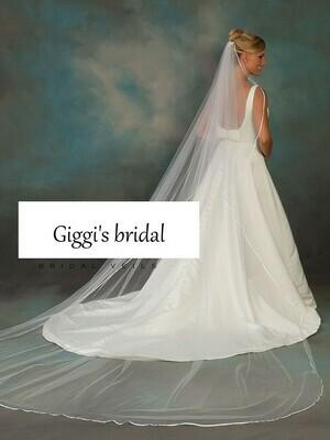 Chapel Length ribbon trim veil