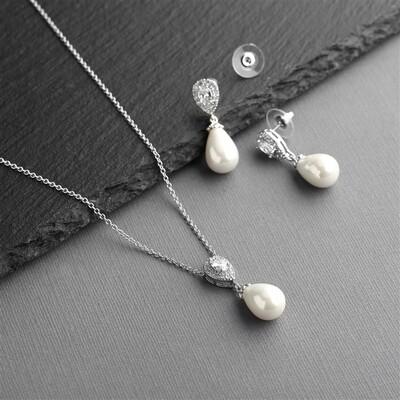Teardrop Pearl Wedding Jewelry Set