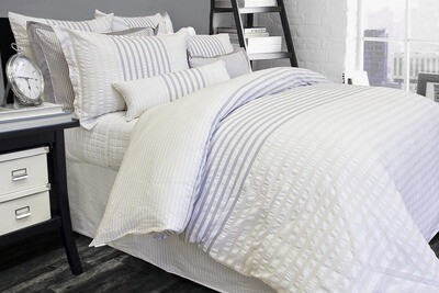 Claridge Seersucker 100% Cotton Duvet Set Qn