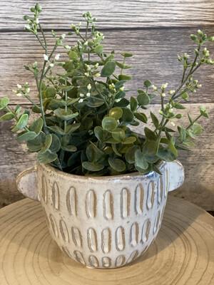 Ceramic Pot W Handles Small