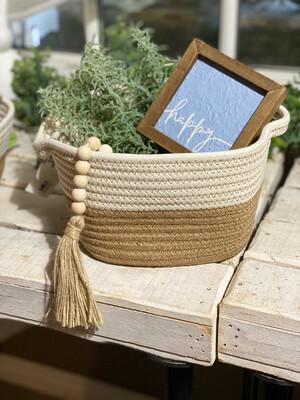 White and Natural Soft Basket Sm.