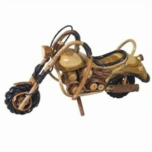 (291) Handcrafted wooden motorcycle
