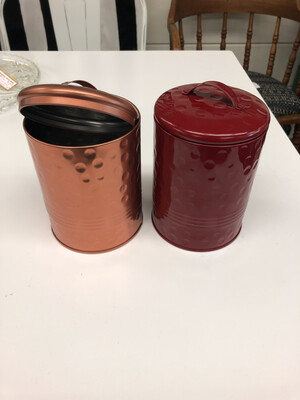 (282) copper and red metal canisters (set)