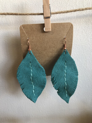 #23 Turquoise Leather Feather Earrings - Large
