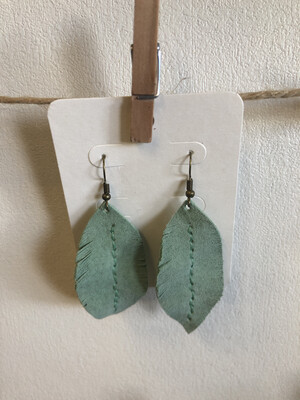 #12 Sage Green Leather Feather Earrings - Med