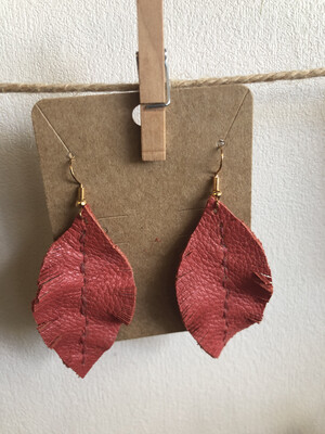 #34 Coral Leather Feather Earrings - Large