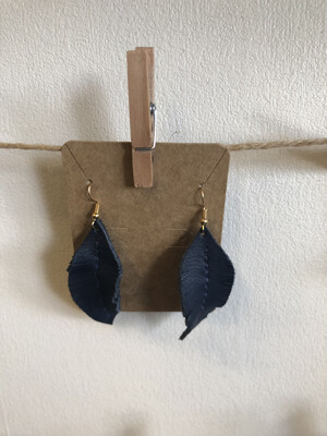 #11 Blue Leather Feather Earrings - Med