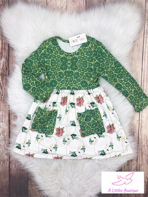 (202-1) Pink & Green Floral Dress 4T