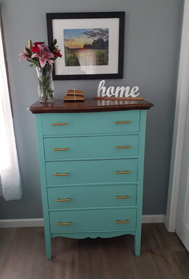 (8) 5 Drawer Teal Dresser