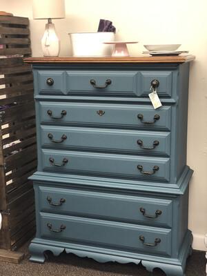 (76) Blue Tall Boy Dresser
