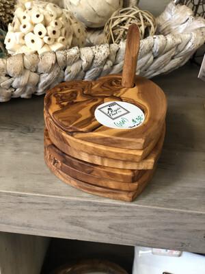 (664) Olive wood heart shaped coasters (set of 6)