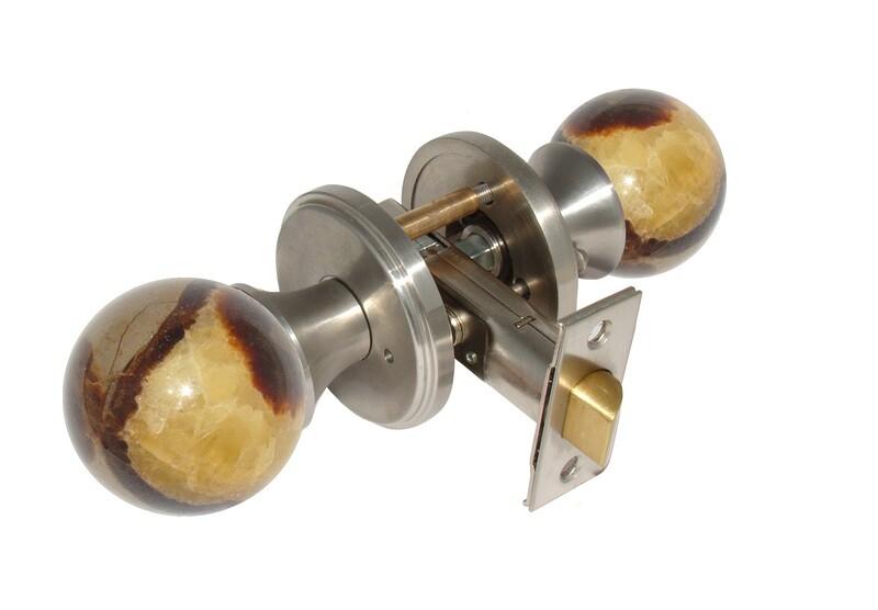 Gemstone Hardware Door Knob Septarian Satin Stainless Steel Privacy 2-3/8