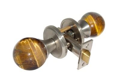 Gemstone Hardware Door Knob Tiger Eye Satin Stainless Steel Privacy 23/4