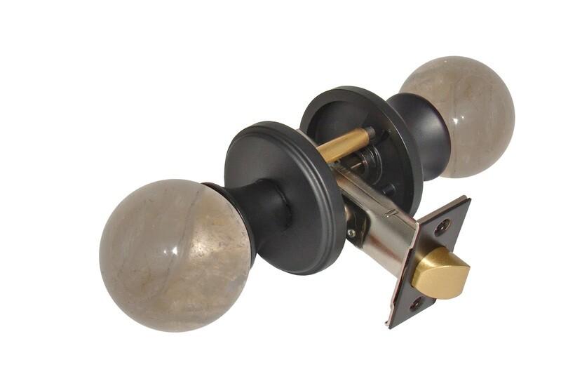 Gemstone Hardware Door Knob Smokey Quartz Matte Black Privacy 2-3/8