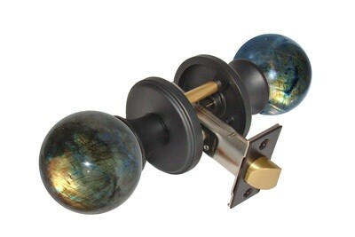Gemstone Hardware Door Knob Labradorite Matte Black Passage 2-3/8