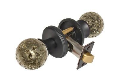 Gemstone Hardware Door Knob Pyrite Matte Black Passage 2-3/8