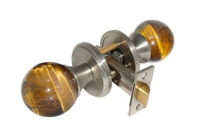 Gemstone Hardware Door Knob Tiger Eye Satin Stainless Steel Passage 2-3/8