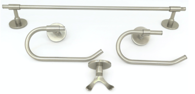 Deco & Deco Decorative Four Piece Bathroom Accesory Set Solid Brass Round Base Brushed Nickel