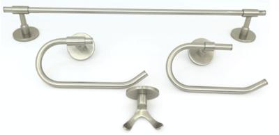 Deco & Deco Decorative Four Piece Bathroom Accesory Set Solid Brass Round Base Polished Chrome