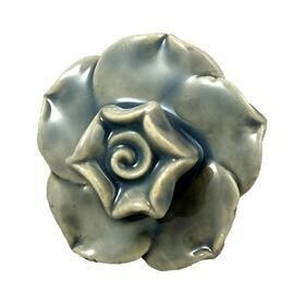 Charleston Knob Company  VINTAGE GREY FIVE LEAF CERAMIC FLOWER CABINET KNOB