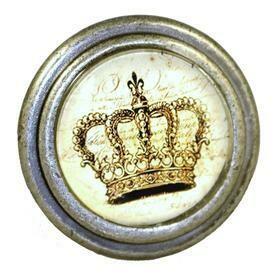 Charleston Knob Company  KINGS CROWN BURNISHED SILVER CABINET KNOB