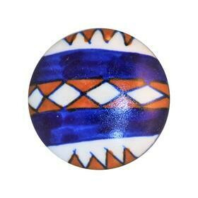 Charleston Knob Company  RUST/WHITE/BLUE SOUTHWESTERN COTTAGE CHIC CERAMIC CABINET KNOB
