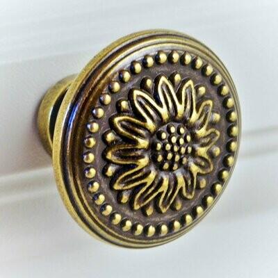 Charleston Knob Company ANTIQUE COPPER FLORAL CABINET KNOB