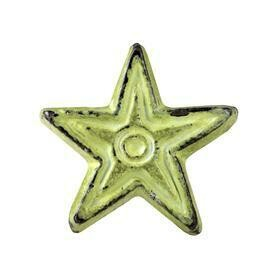 Charleston Knob Company  VINTAGE IRON DECO DISTRESSED GREEN STAR CABINET KNOB