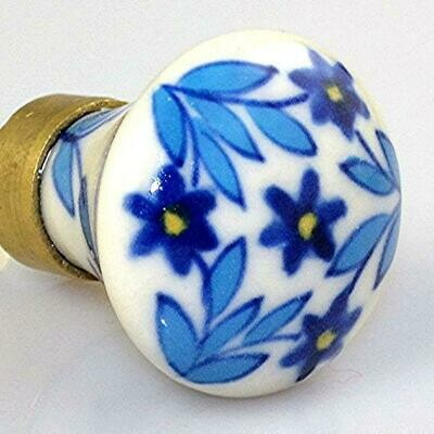Charleston Knob Company  BLUE FLORAL ON WHITE COTTAGE CHIC CERAMIC CABINET KNOB