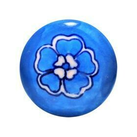 Charleston Knob Company  BLUE AND WHITE FLORAL DESIGN COTTAGE CHIC CERAMIC CABINET KNOB