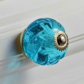 Charleston Knob Company  AQUA BLUE CRYSTAL GLASS HANDCRAFTED CABINET KNOB