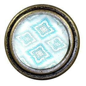 Charleston Knob Company  IKAT LEAVES BLUE BURNISHED SILVER CABINET KNOB